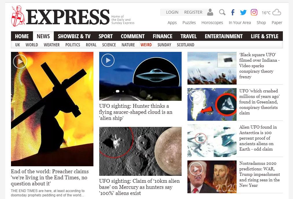 Imagen de la web del Daily Express en la que aparece la noticia.